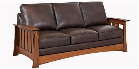 leather mission arts  crafts style sofa club furniture