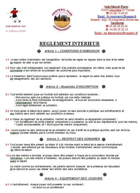 reglement interieur club de foot le r 232 glement int 233 rieur club football football club jonquierois footeo