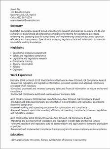 compliance statement template - 1 compliance analyst resume templates try them now