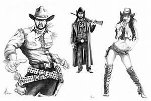 Gunslingers Drawing by Murphy Elliott