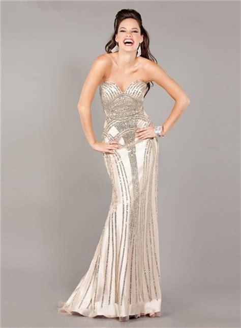 stunning mermaid strapless beige satin beaded sparkly