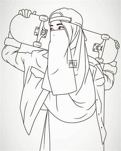 Anime Sketsa Gambar Muslimah Kartun Niqab Hijab