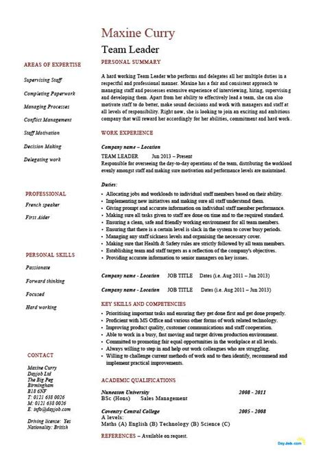 Team Leader Resume Format Free team leader resume supervisor cv exle template sle work