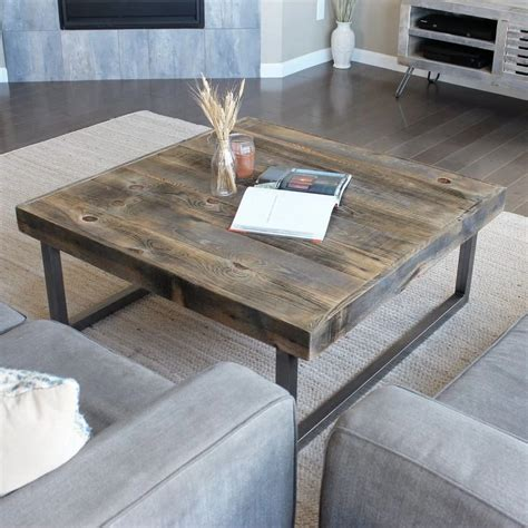 It's a 3×3′ square table, which fits our sectional perfectly! Reclaimed Wood and Metal Square Coffee Table, Tube Steel Legs in 2020 | Reclaimed wood coffee ...