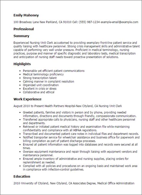 Unit Clerk Resume professional nursing unit clerk templates to showcase your talent myperfectresume
