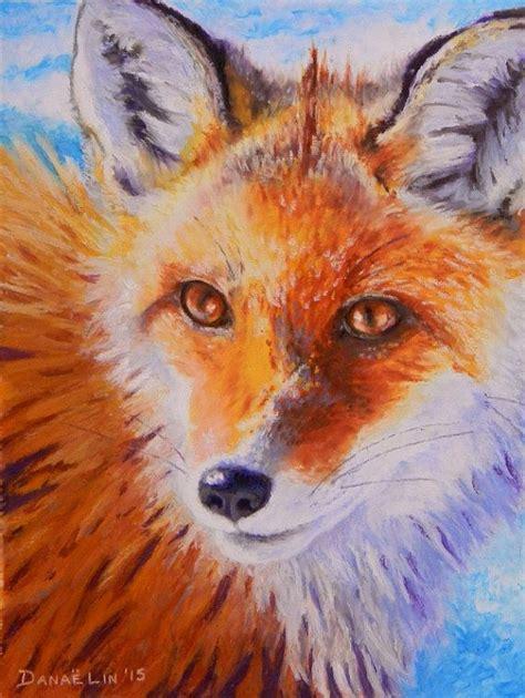 original oil pastel fox painting wild animal portrait