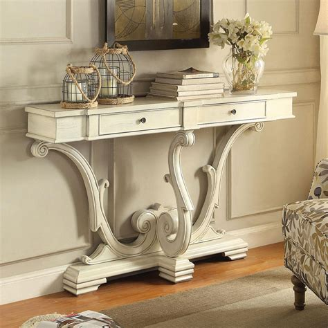 antique white sofa table accent hallway entryway sofa console table curved legs 2