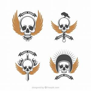 Pack of retro skull logos with golden wings Vector | Free ...
