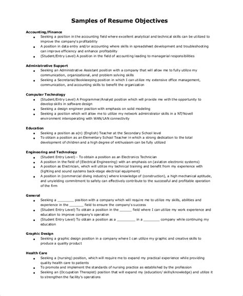 General Resume Objective Exles Entry Level by General Resume Objective Sle 9 Exles In Pdf