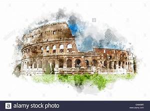 Watercolor painting of the Colosseum, Rome, Italy with a ...