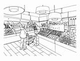 Grocery Supermarket Store Department Drawing Clipart Drawn Vegetable Illustration Vector Hand Interior Mall Market Drawings Super Premium Preview System Help sketch template