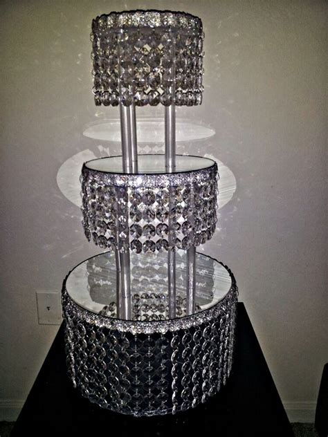 metre crystal clear garland wedding cake stand