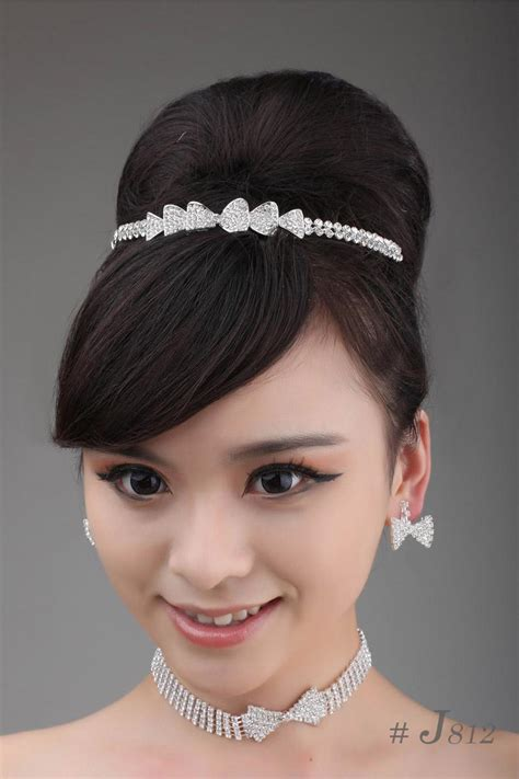 fast delivery simple bridal sets necklace earrings hair