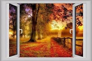 3d Window Decal Wall Sticker Home Decor Autumn Fall View