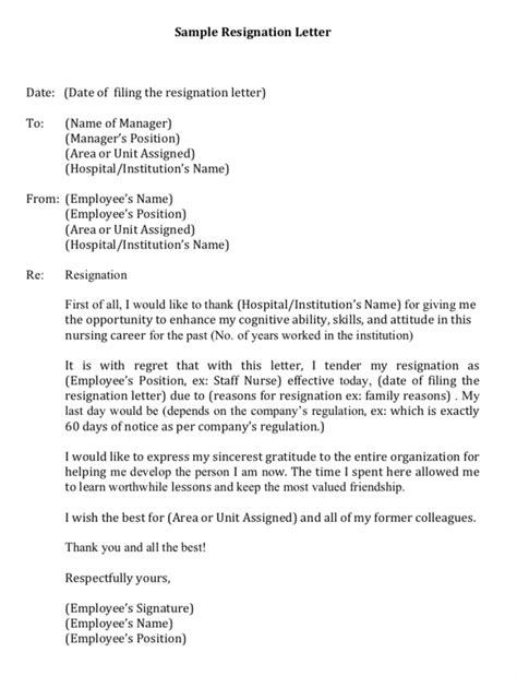 Resignation Letter Format Of Staff Nurse - Sample Resignation Letter