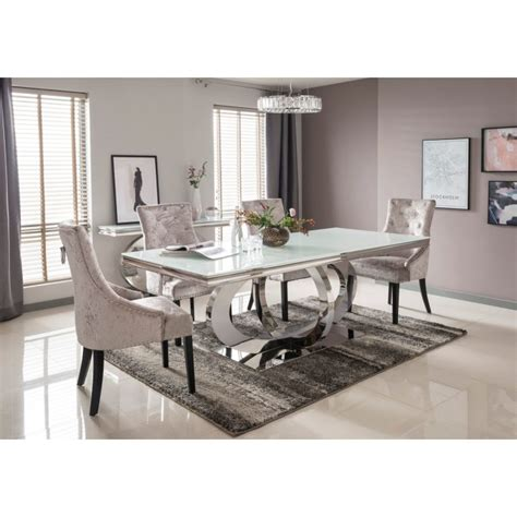 orion mirrored rectangle cm dining table   crushed