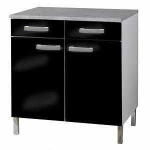 Meuble Bas 2 Portes : meuble bas 2 portes et 2 tiroirs glossy noir ~ Dallasstarsshop.com Idées de Décoration