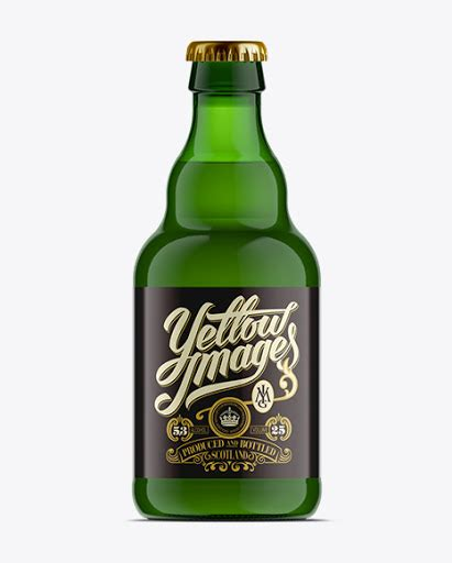 Display your design in a more efficient way on this mockup of a clear glass bottle with whiskey. 330ml Steinie Beer Bottle PSD Mockup / Green Glass