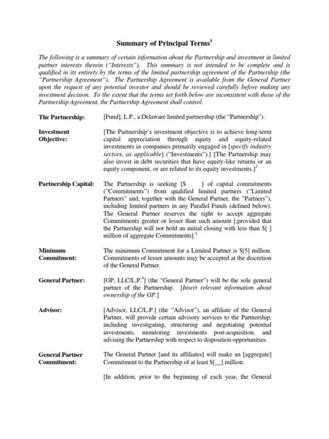limited partnership term sheet private equity term sheet v1 partnership limited