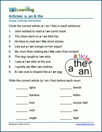 article worksheets a an the k5 learning