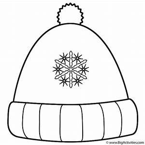 winter hat with snowflakes coloring page christmas With snow hat template