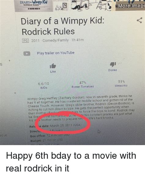 Diary Of A Wimpy Kid Memes - more image roosick sales diary of a wimpy kid rodrick rules opg 2011 comedyfamily 1h 41m cd play