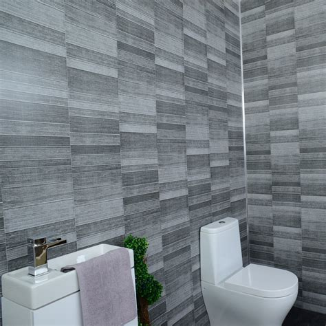 grey anthracite tile effect bathroom wall cladding shower