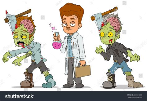 Cartoon Walking Zombie Axe Redhead Scientist Stock Vector