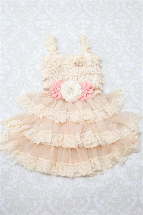 shabby chic flower dresses blush ivory flower girl dress chagne flower girl