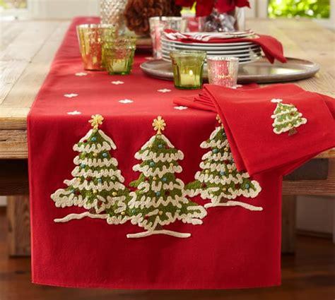 pottery barn christmas table runner christmas tree crewel embroidered table runner pottery barn