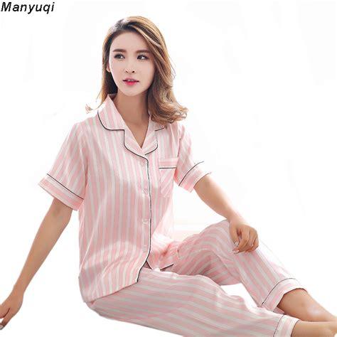 Womens Pajamas Sets Silk Satin Nightwear Long Pants