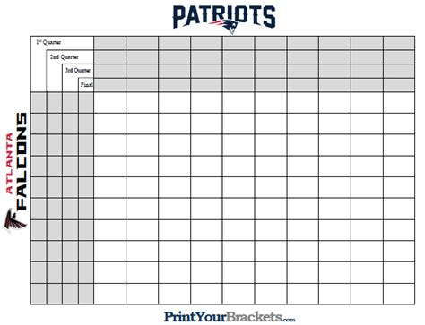 Printable Superbowl Squares Template by Free Printable Bowl Squares Template Sheet Pdf 50