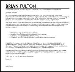 inside sales resume cover letter inside sales representative cover letter sle livecareer