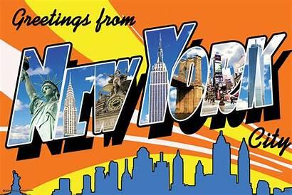 York Postcard Nyc Greetings Fridge X3 Magnet