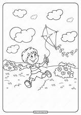 Kite Coloring Flying Printable Boy Pdf Drawing Boys Children sketch template