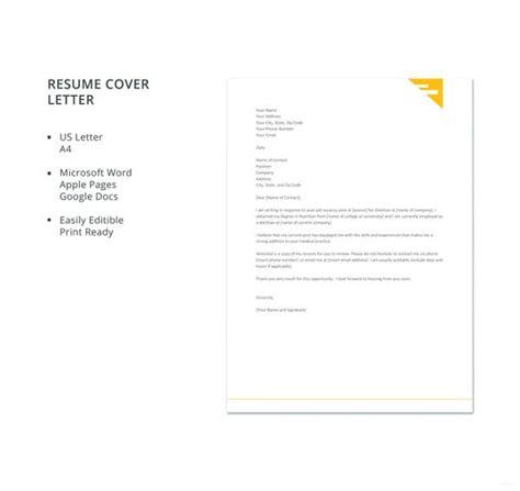 resume cover letter templates  sample