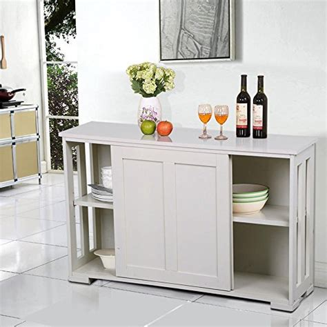 kitchen buffet storage cabinet yaheetech antique white sliding door buffet sideboard 5138