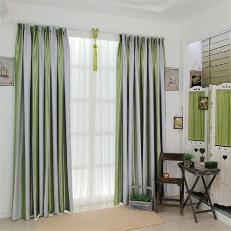 grey and green striped curtains are fresh and causal