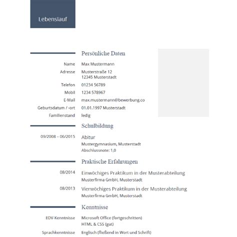 Lebenslauf Muster Für Schüler by Lebenslauf F 252 R Sch 252 Ler Tabellarischer Lebenslauf