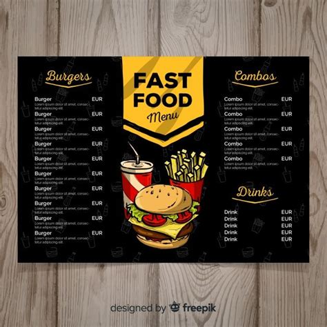 hand drawn fast food menu template food menu design