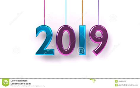 Representación 3d Del Año 2019 Stock De Ilustración