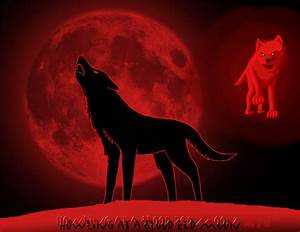 Howling at a blood red moon by DragonWolfACe on DeviantArt