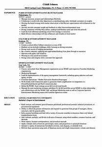 Entertainment Manager Resume Samples
