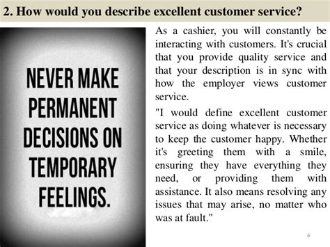 How Would You Describe Customer Service by 86 Cashier Questions And Answers