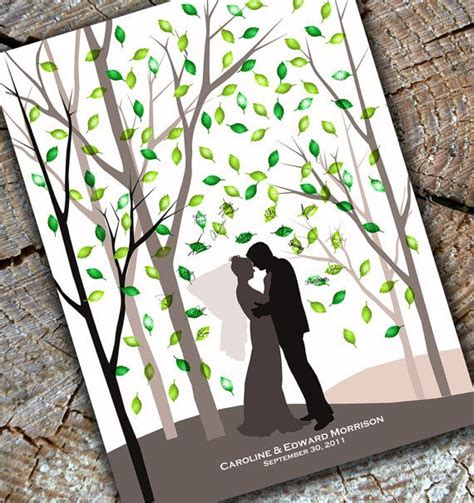 wedding fingerprint print tree guest book alternative forest shadow silhouette poster 18x24