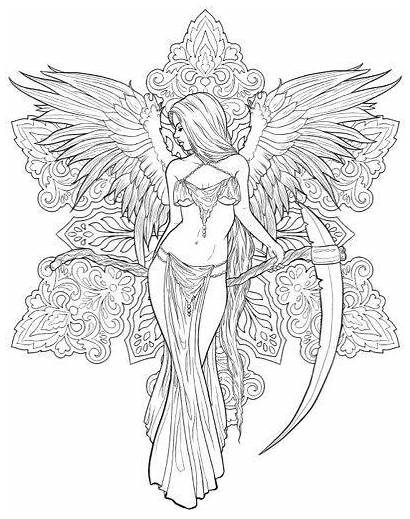 Coloring Pages Adults Gothic Adult Fantasy Fairy