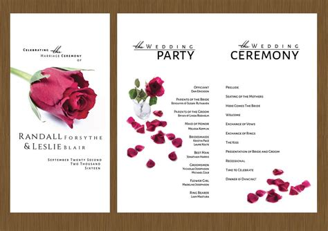 single rose wedding program detail wedding design