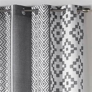 Rideau Gris Et Blanc : rideaux gris et blanc pas cher ~ Teatrodelosmanantiales.com Idées de Décoration