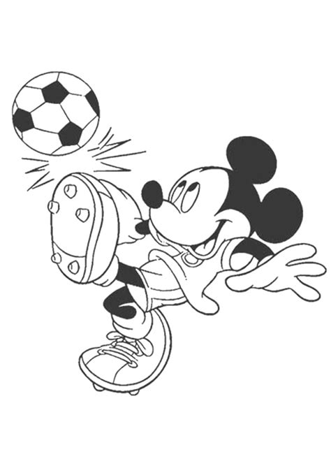 mickey mouse playing soccer coloring page  printable coloring pages  kids