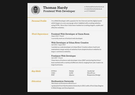 Create Curriculum Vitae by 28 Free Cv Resume Templates Html Psd Indesign Web